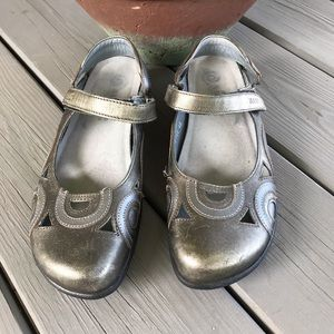 NAOT Metallic Gold/Pewter Mary Jane Sandals